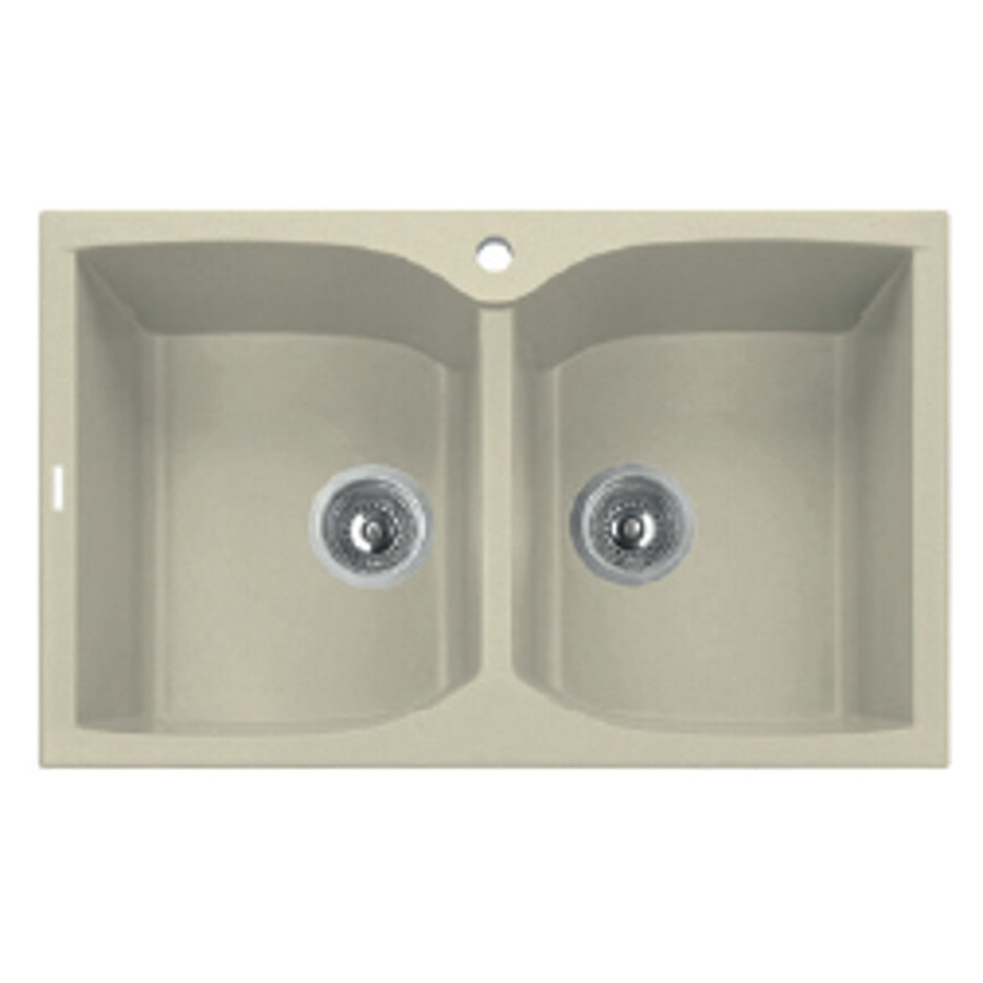 LaToscana Corax 31-in x 18-in Sahara Double-Basin Granite Drop-in 1-Hole Residential Kitchen Sink All-In-One Kit