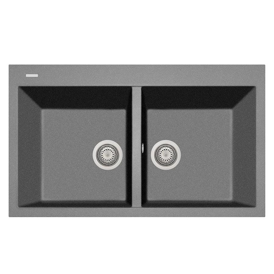 LaToscana Elegance 20-in x 34-in Titanium Double-Basin Composite Drop-In 1-Hole Corner Install Commercial/Residential Kitchen Sink All-in-One Kit