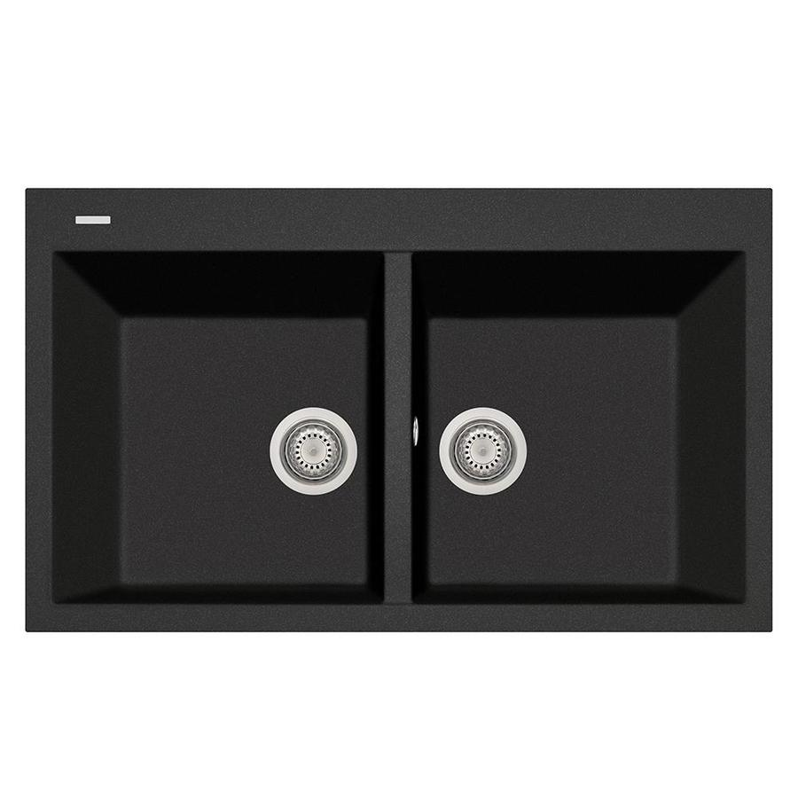 LaToscana Elegance 20-in x 34-in Black Metallic Double-Basin Composite Drop-In 1-Hole Corner Install Commercial/Residential Kitchen Sink All-in-One Kit