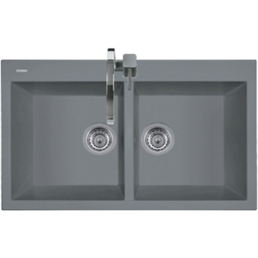 LaToscana Elegance 34-in x 20-in Black Matt Double-Basin Granite Drop-in 1-Hole Residential Kitchen Sink All-In-One Kit