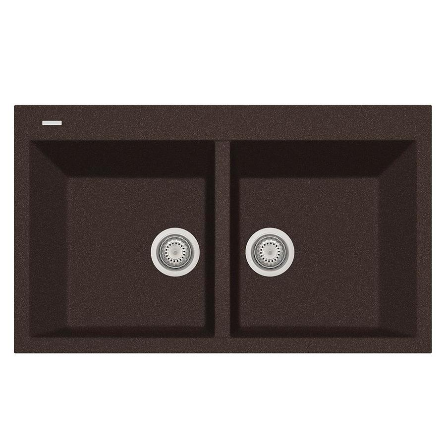 LaToscana Elegance 20-in x 34-in Brown Double-Basin Composite Drop-In 1-Hole Corner Install Commercial/Residential Kitchen Sink All-in-One Kit
