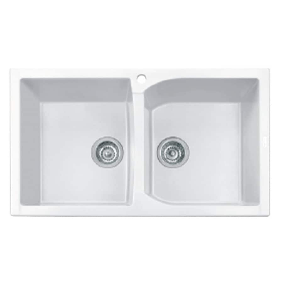 LaToscana Corax 34-in x 20-in Milk White Double-Basin Granite Drop-in 1-Hole Residential Kitchen Sink All-In-One Kit