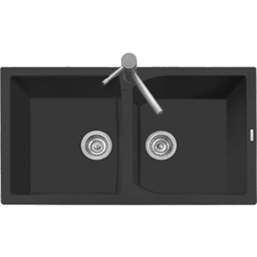 LaToscana Corax 34-in x 20-in Black Matt Double-Basin Granite Drop-in 1-Hole Residential Kitchen Sink All-In-One Kit