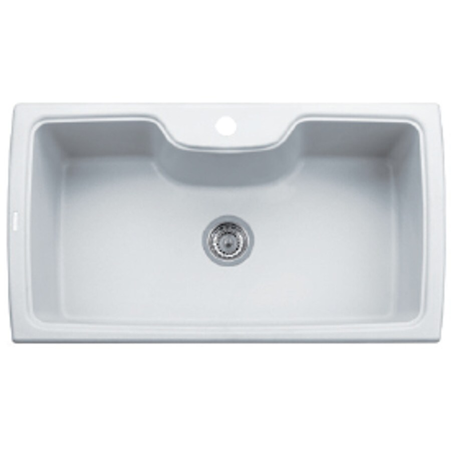 LaToscana Harmony 35-in x 20-in Milk White Single-Basin Granite Drop-in 1-Hole Residential Kitchen Sink All-In-One Kit