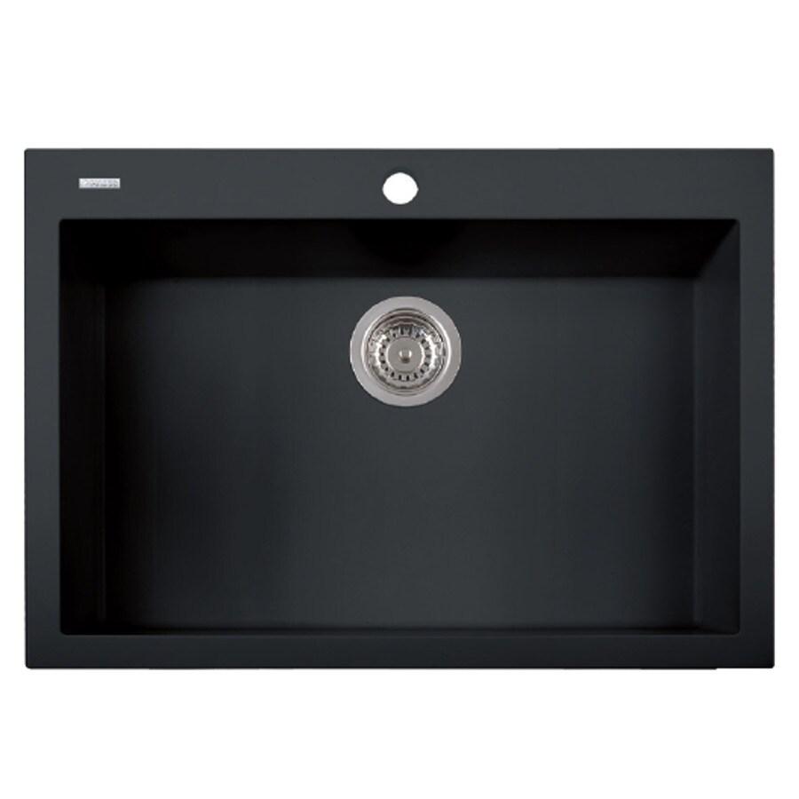 LaToscana One 30-in x 20-in Black Matt Single-Basin Granite Drop-in 1-Hole Residential Kitchen Sink All-In-One Kit