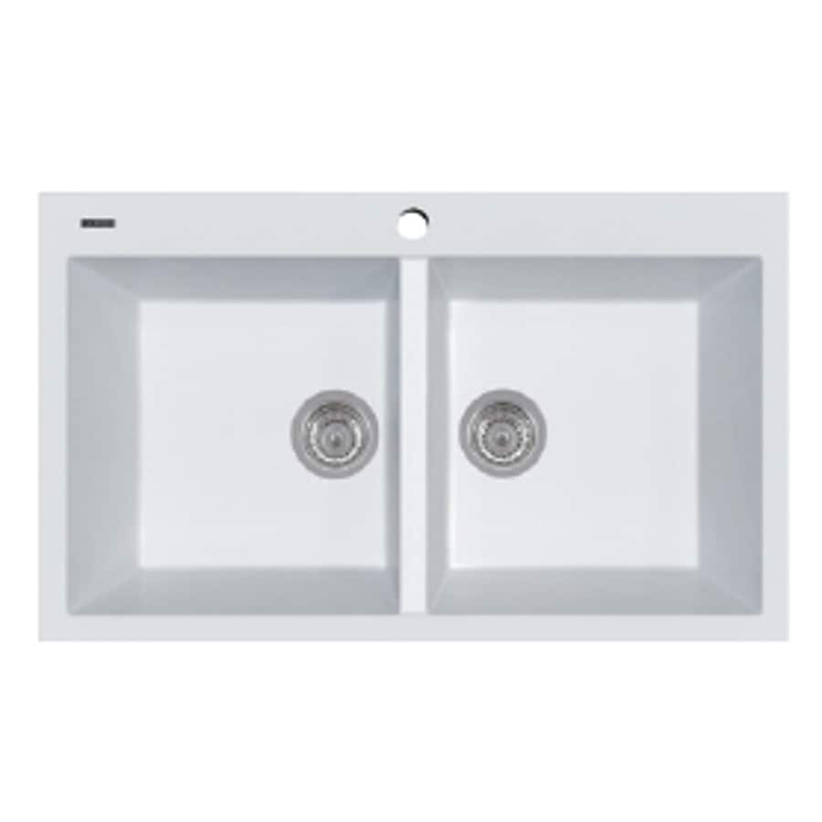 LaToscana Elegance 34-in x 20-in Milk White Single-Basin-Basin Granite Drop-in 1-Hole Residential Kitchen Sink All-In-One Kit