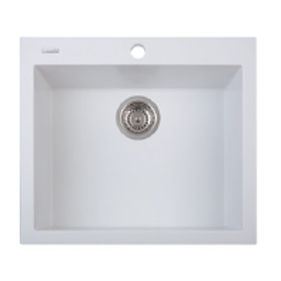 LaToscana One 23.0-in x 20.0-in Milk White Single-Basin Granite Drop-in 1-Hole Residential Kitchen Sink All-In-One Kit