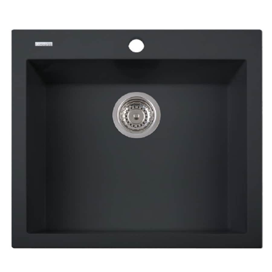 LaToscana One 23-in x 20-in Black Matt Single-Basin Granite Drop-in 1-Hole Residential Kitchen Sink All-In-One Kit