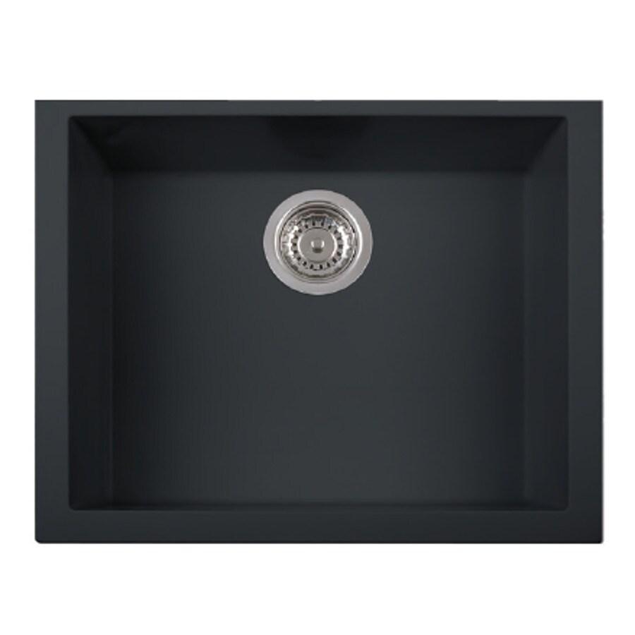 LaToscana One 23-in x 18-in Black Matt Single-Basin Granite Drop-in Residential Kitchen Sink All-In-One Kit