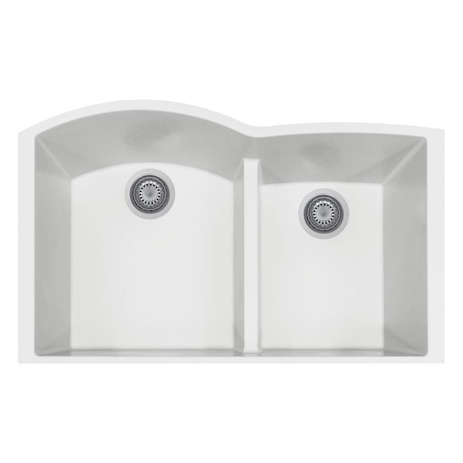 Shop Latoscana Elegance 21 In X 33 In Milk White Double Basin Composite Undermount Corner