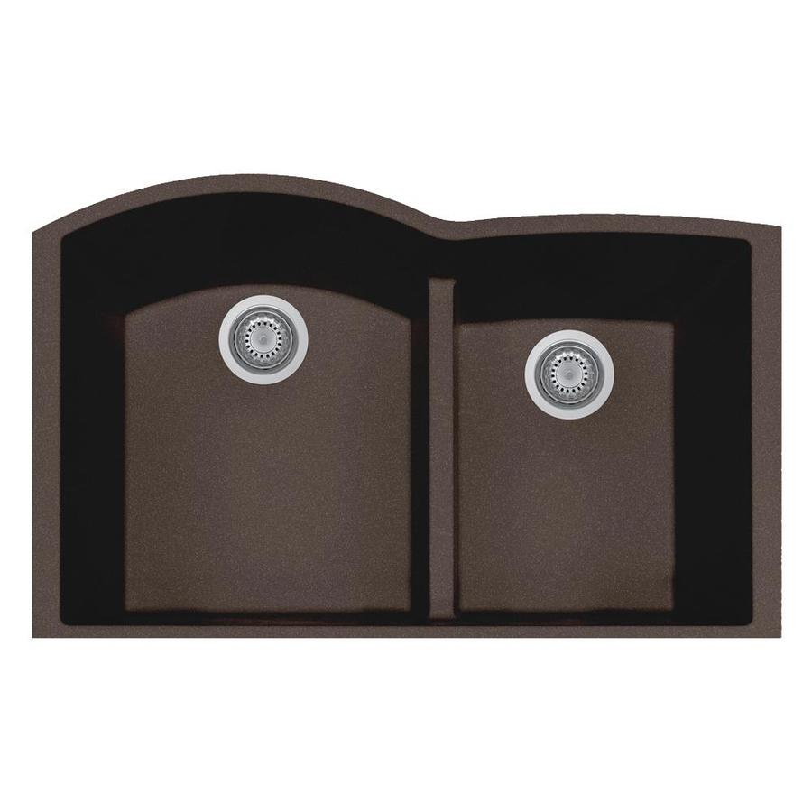 LaToscana Elegance 21-in x 33-in Brown Double-Basin Composite Undermount Corner Install Commercial/Residential Kitchen Sink All-in-One Kit