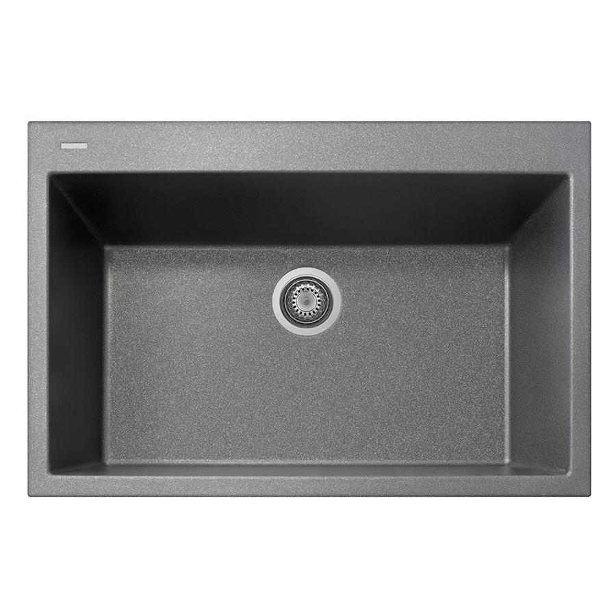 LaToscana One 22-in x 33-in Titanium Single-Basin Composite Drop-In 1-Hole Corner Install Commercial/Residential Kitchen Sink All-in-One Kit