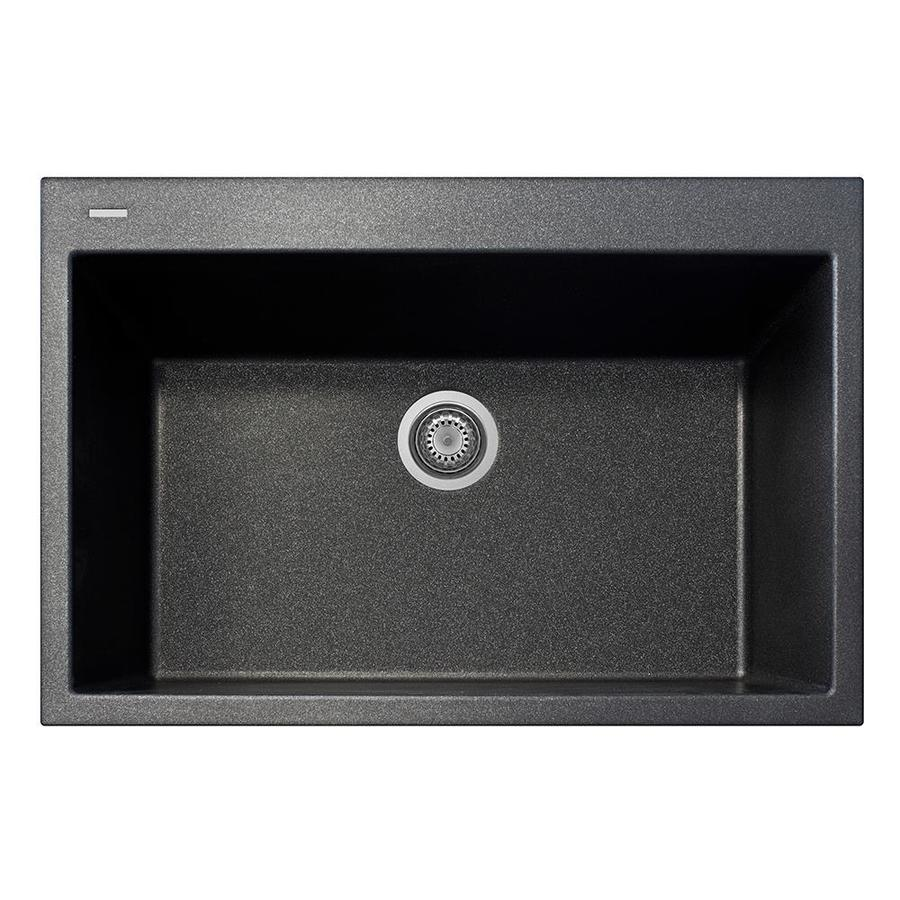 LaToscana One 22-in x 33-in Black Metallic Single-Basin Composite Drop-In 1-Hole Corner Install Commercial/Residential Kitchen Sink All-in-One Kit