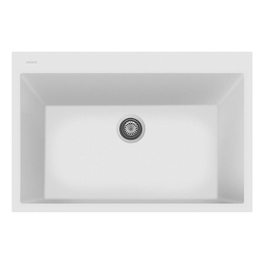 LaToscana One 22-in x 33-in Milk White Single-Basin Composite Drop-In 1-Hole Corner Install Commercial/Residential Kitchen Sink All-in-One Kit
