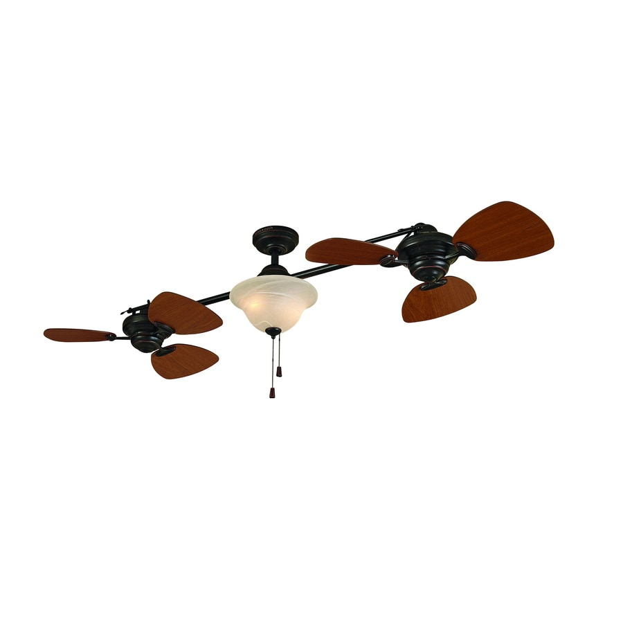 shop allen + roth 74-in twin breeze aged bronze ceiling fan with