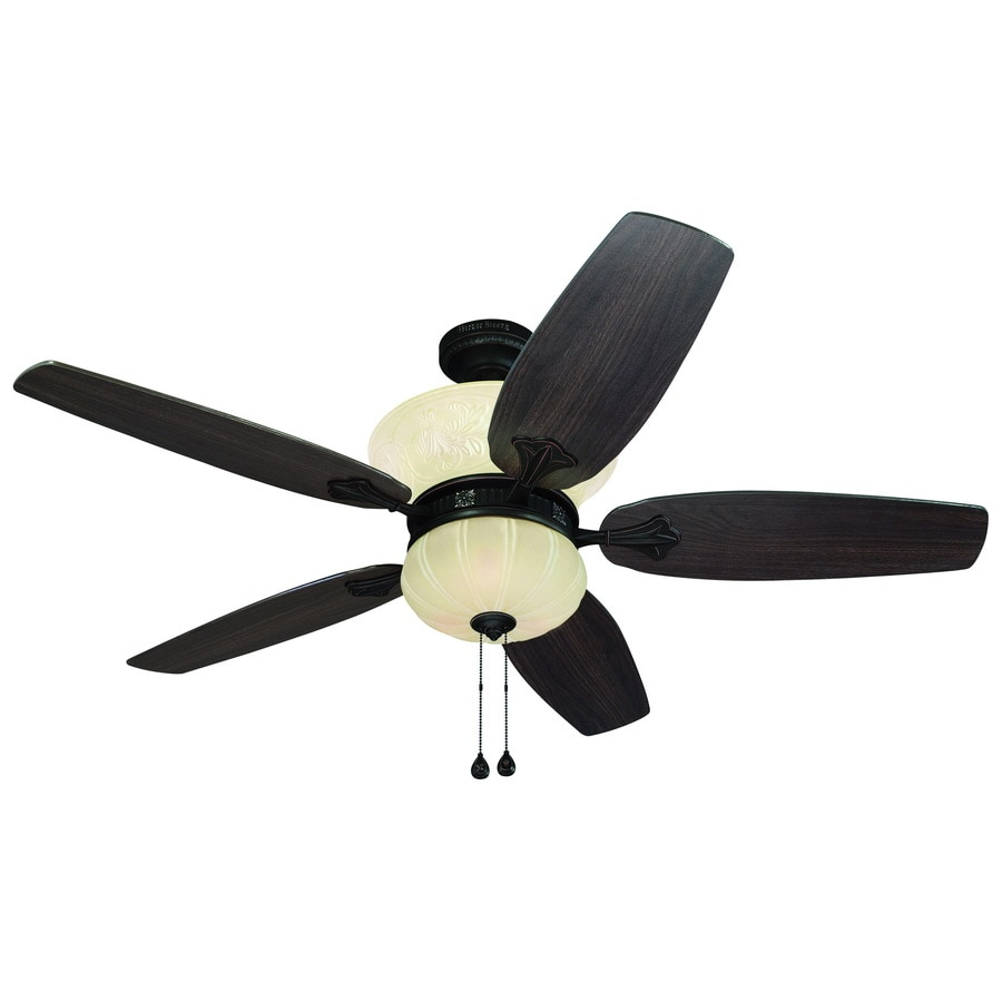 Harbor Breeze Bevington 52-in Dark Oil-Rubbed Bronze Downrod Mount Indoor Ceiling Fan with Light Kit