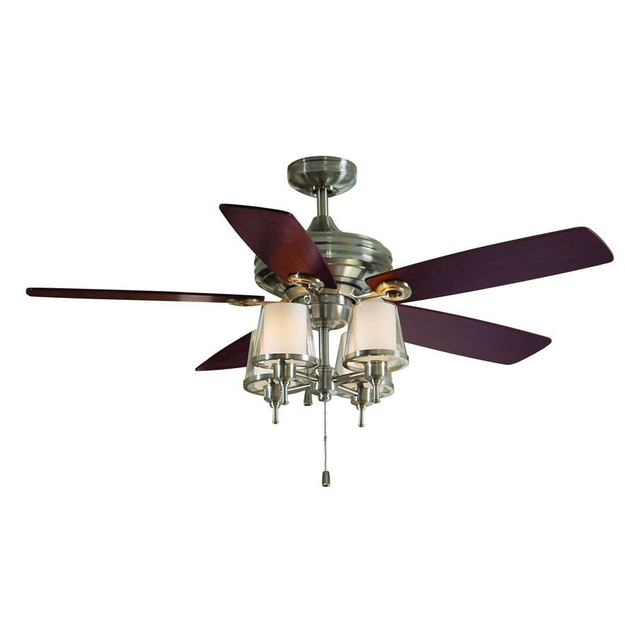 Allen Roth 52 In Brushed Nickel Downrod Mount Indoor Ceiling Fan With Light Kit