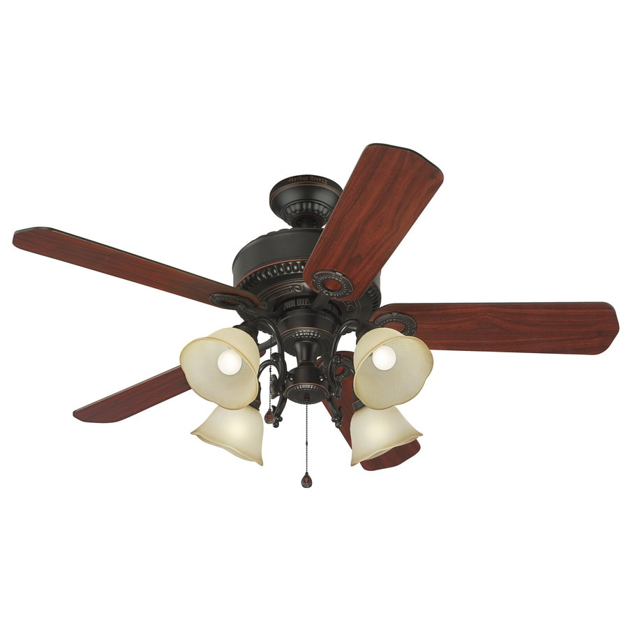 Shop harbor breeze edenton 52 in aged bronze indoor downrod or harbor breeze edenton 52 in aged bronze indoor downrod or close mount ceiling fan with mozeypictures Gallery
