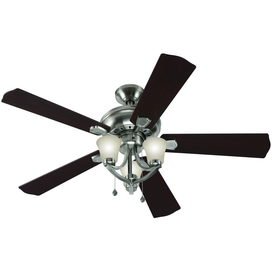 Harbor Breeze Bay Bridge 52-in Brushed Nickel Downrod or Close Mount Indoor Ceiling Fan with Light Kit