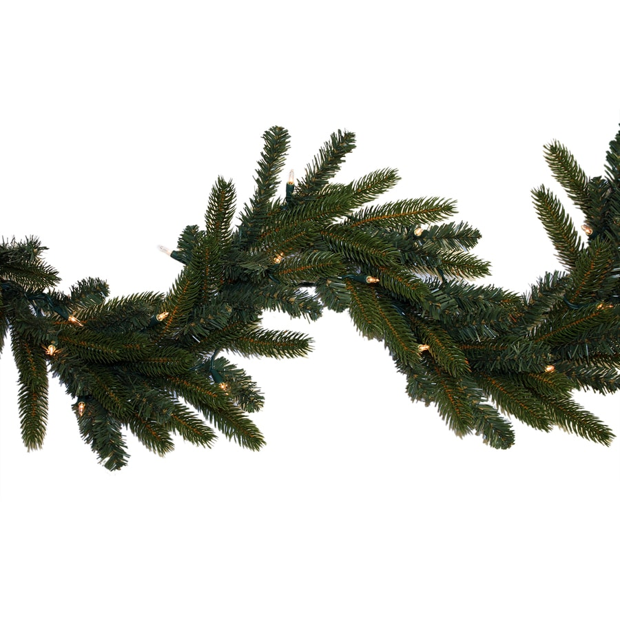 GE Indoor/Outdoor Pre-Lit 9-ft L Spruce Garland with White Incandescent Lights