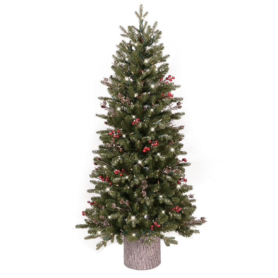 White 4 Foot Christmas Tree: GE 4.5-ft Pre-lit Frasier Fir Slim Flocked Artificial