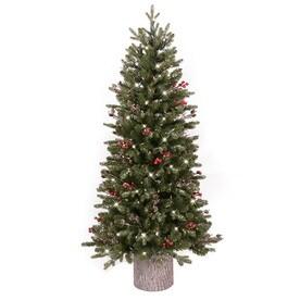 ge 45 ft pre lit frasier fir slim flocked artificial christmas tree with 200 - Slim Christmas Trees