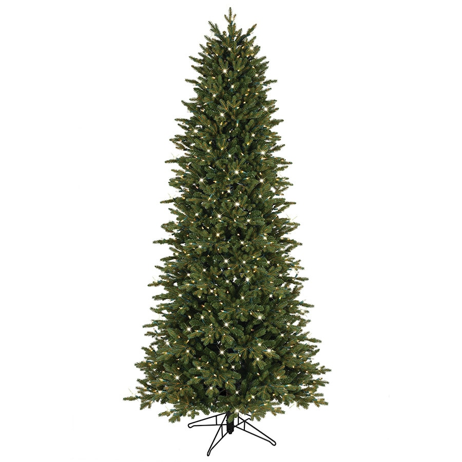 Shop GE 7.5-ft Pre-Lit Aspen Fir Slim Artificial Christmas Tree with ...