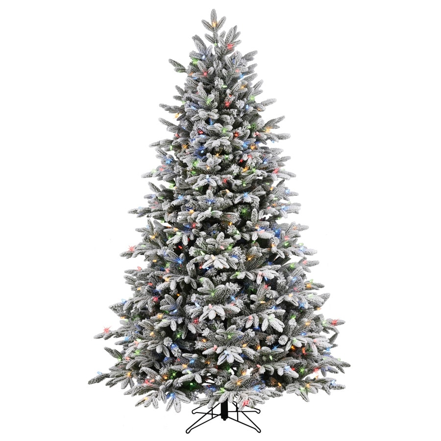 GE 7.5-ft Pre-Lit Alaskan Pine Full Flocked Artificial Christmas Tree with Color Changing Warm White LED Lights