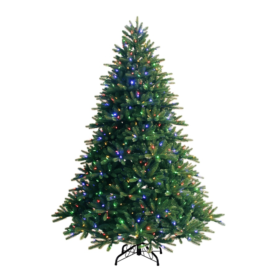 Shop GE 7.5-ft Pre-Lit Fir Artificial Christmas Tree with Color ...
