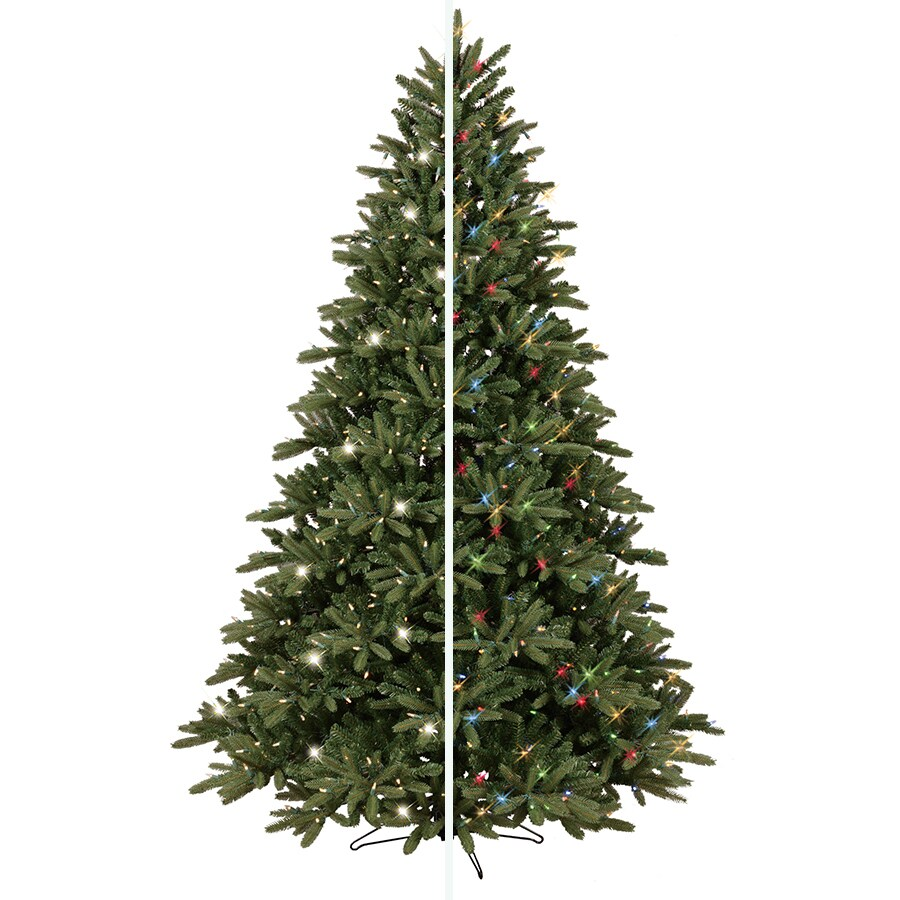 GE 7.5-ft Pre-Lit Frasier Fir Artificial Christmas Tree with Color ...