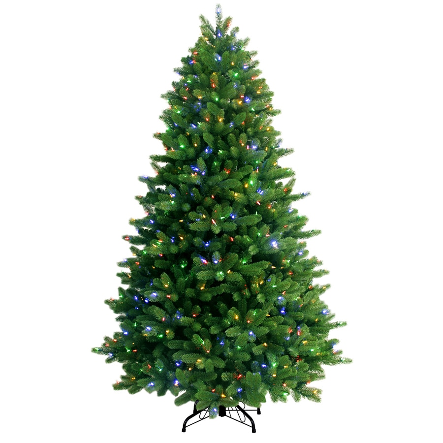Shop GE 7.5-ft Pre-Lit Spruce Artificial Christmas Tree with Color ...