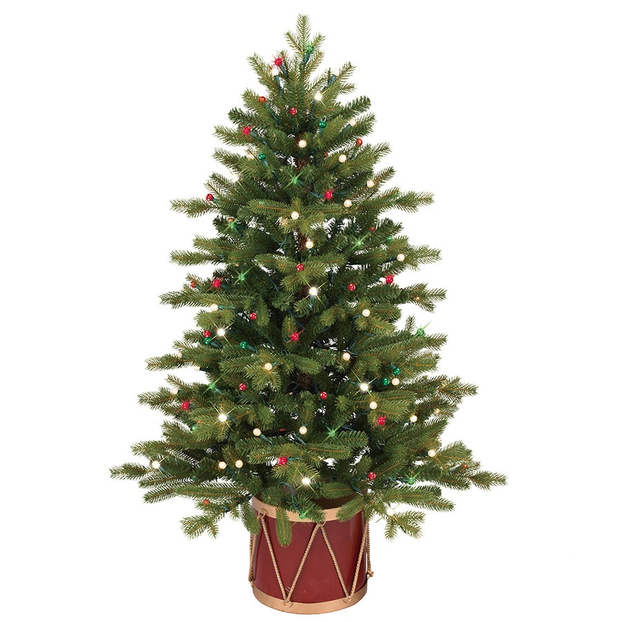 Shop GE 4-ft Pre-Lit Colorado Spruce Slim Artificial Christmas ...