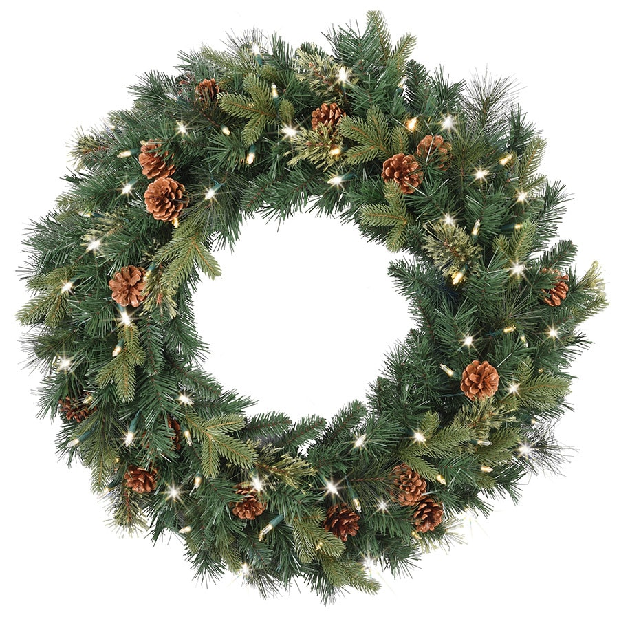 Ge 30 In Pre Lit Indoor Outdoor Battery Operated Green Mixed Pine Artificial Christmas Wreath With Multicolor Warm White Led Lights
