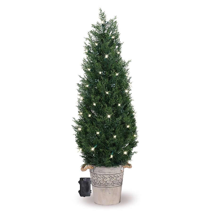 GE 3.5-ft Pre-lit Cedar Pine Artificial Christmas Tree with 50 Constant Warm White LED Lights