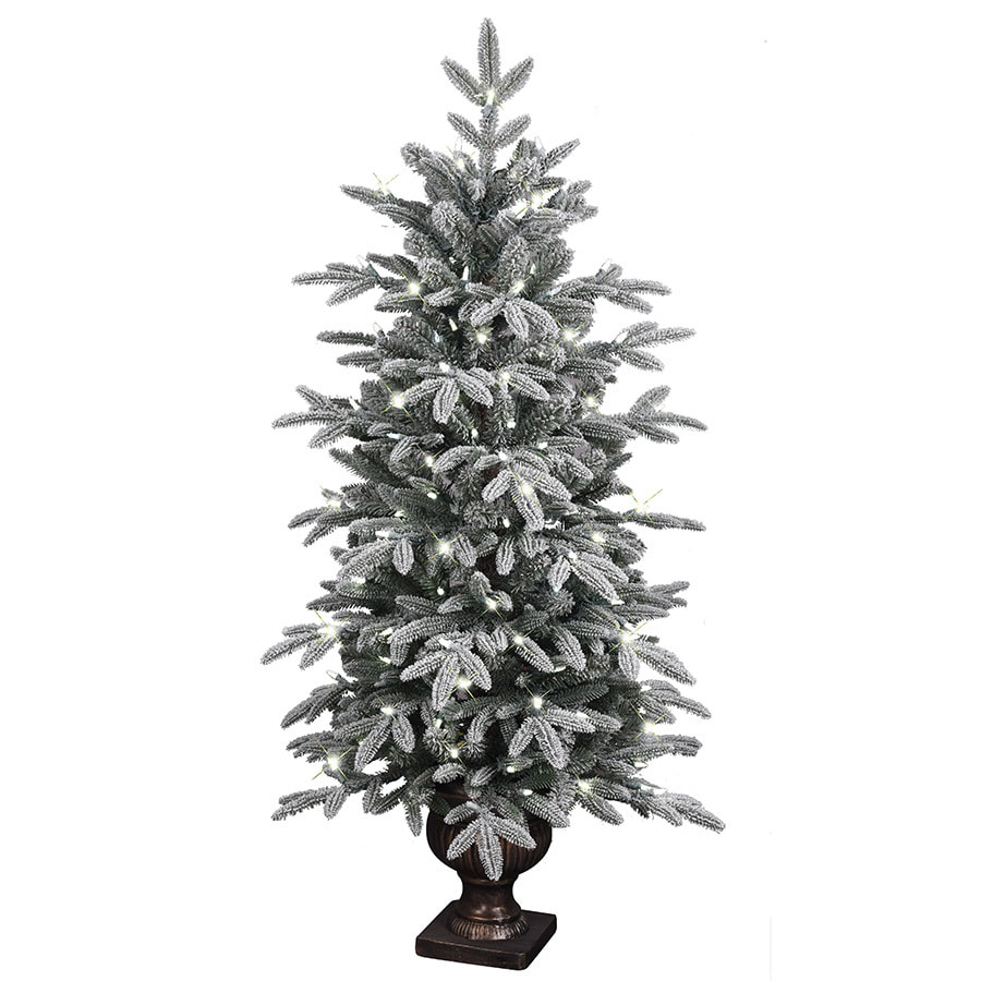 Shop GE 4.5-ft Pre-lit Aspen Fir Flocked Artificial Christmas Tree ...