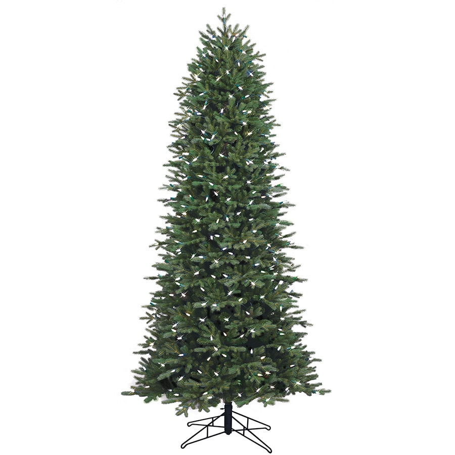 GE (No Cinematic Universe) 7.5-ft 3923-Count Pre-Lit Aspen Fir Slim Rightside-Up Artificial Christmas Tree Multi-Function 400 Single Plug Color Changing Warm White Led Lights