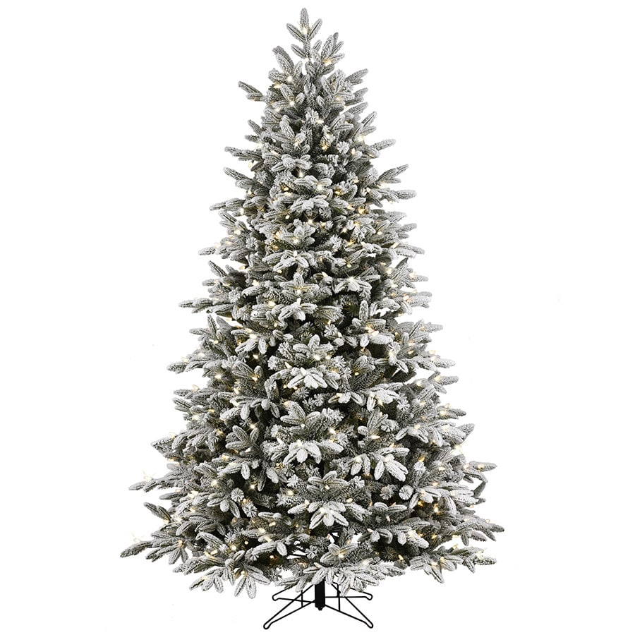 GE 7.5-ft Pre-lit Alaskan Fir Flocked Artificial Christmas Tree with ...