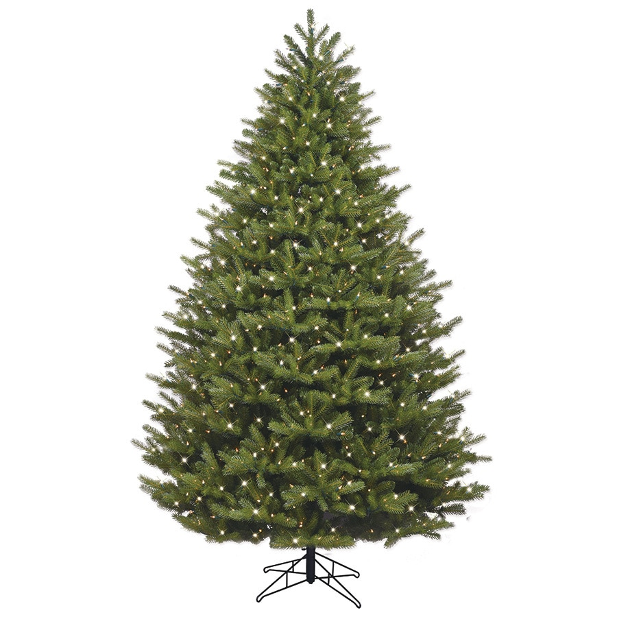 GE 7.5-ft Pre-lit Oakmont Spruce Artificial Christmas Tree with 1000 Constant Clear White Incandescent Lights
