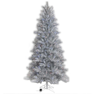 Christmas Tree Tinsel.7 Ft Pre Lit Tinsel Artificial Christmas Tree With 400 Multi Function Color Changing Warm White Led Lights