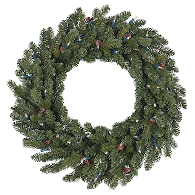 26 In Pre Lit Outdoor Battery Operated Green Mixed Needle Artificial Christmas Wreath With Color Changing Warm White Led Lights