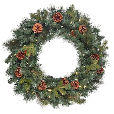 "Christmas 40 LED Lights 24/"" Sonoma Pre-Lit Wreath Color Switch Plus *"