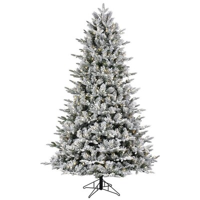Lowe's GE 7.5-ft Pre-Lit Alaskan Fir Flocked Artificial Christmas Tree