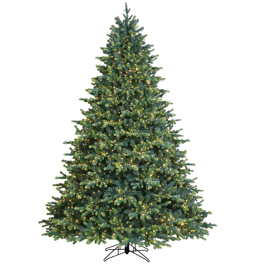 GE 12.12 ft Georgia Fir Pre Lit Traditional Artificial Christmas Tree with  12 Multi Function Color Changing LED Lights