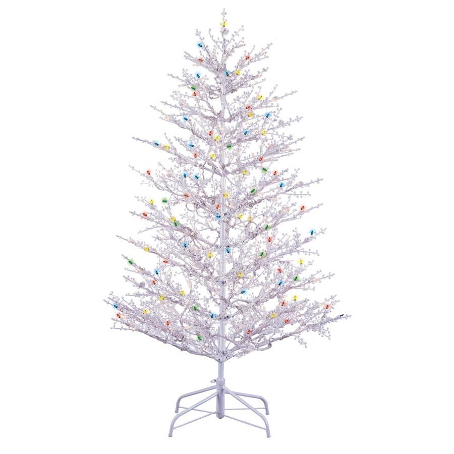 Shop GE 5-ft Pre-Lit Winterberry White Artificial Christmas Tree ...