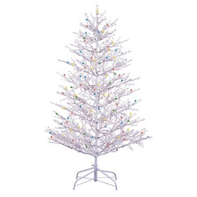 5 Ft Pre Lit Winterberry White Artificial Christmas Tree With White Incandescent Lights