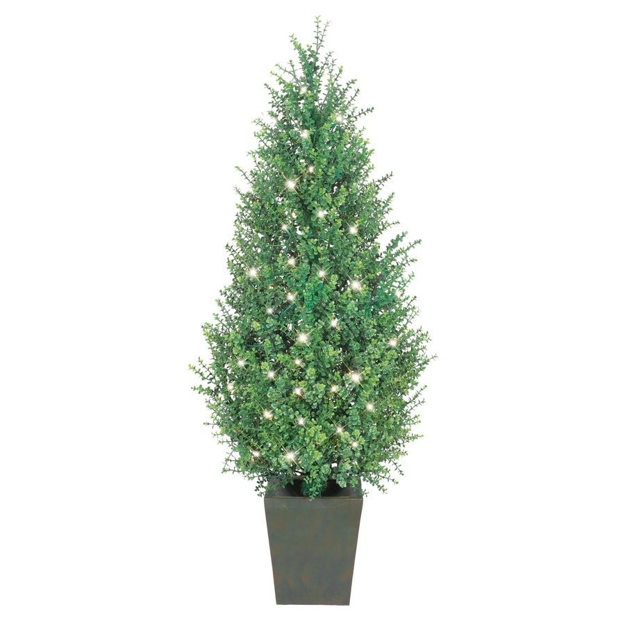 GE 4.5-ft Indoor/Outdoor Boxwood Pre-lit Decorative Artificial Tree with 100-Count Clear Lights