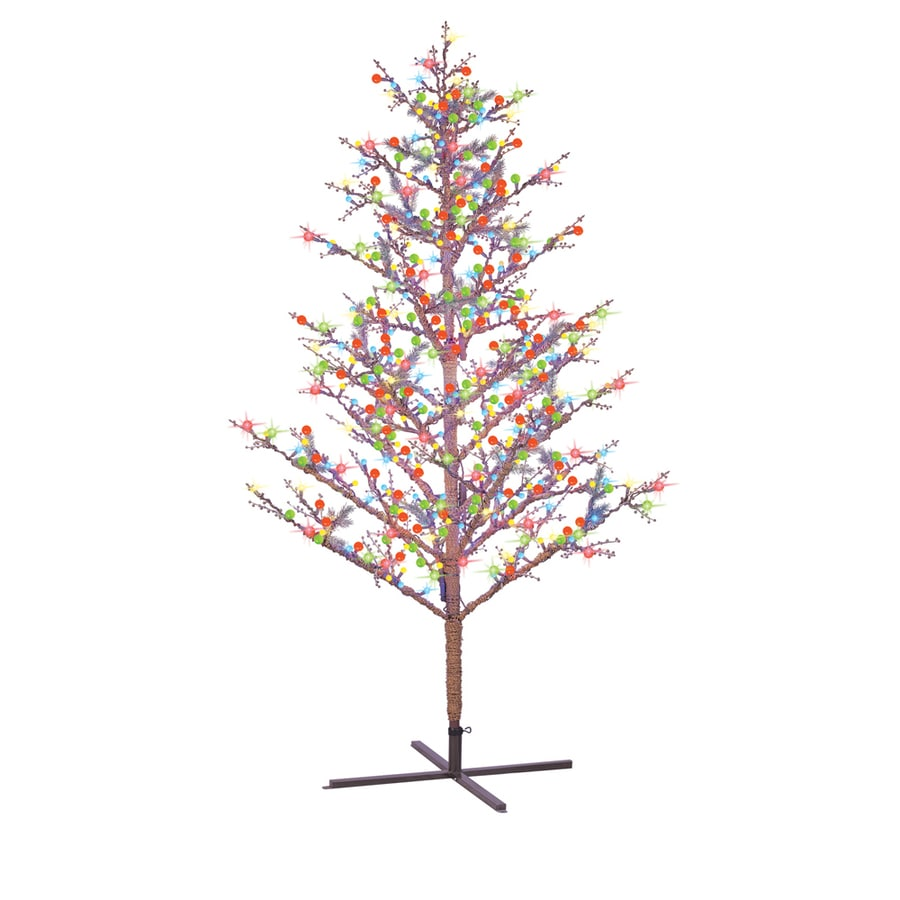 Shop GE 8-ft Pre-Lit Winterberry Artificial Christmas Tree with ...