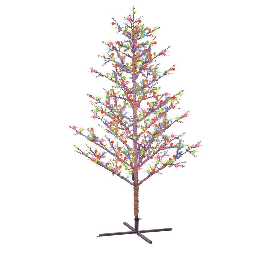 GE 8-ft Pre-Lit Winterberry Artificial Christmas Tree with Multicolor Lights