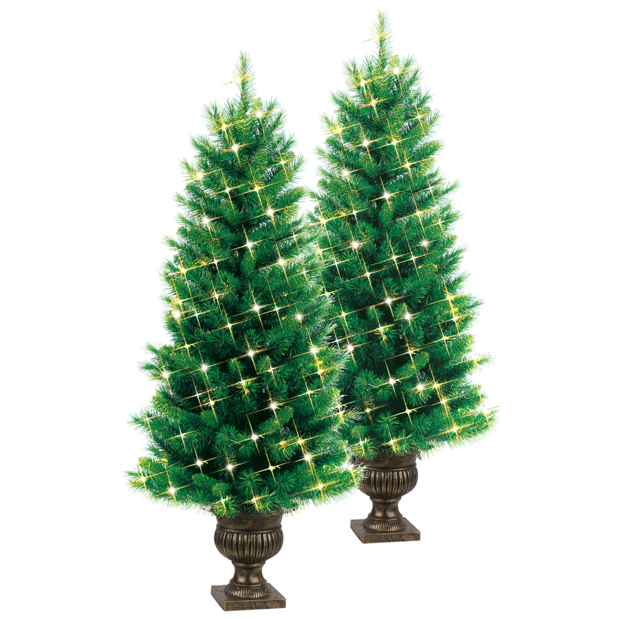 White 4 Foot Christmas Tree: Shop GE 4-ft Pre-Lit Pine Artificial Christmas Tree With