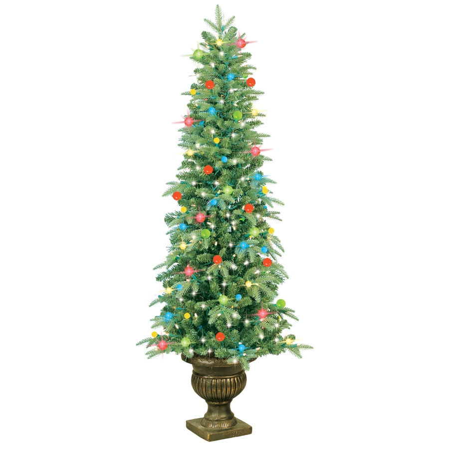 GE 5-ft Pre-Lit Fir Artificial Christmas Tree with ...